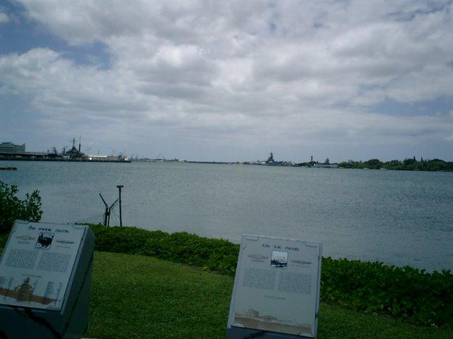 岸壁から記念館を望む