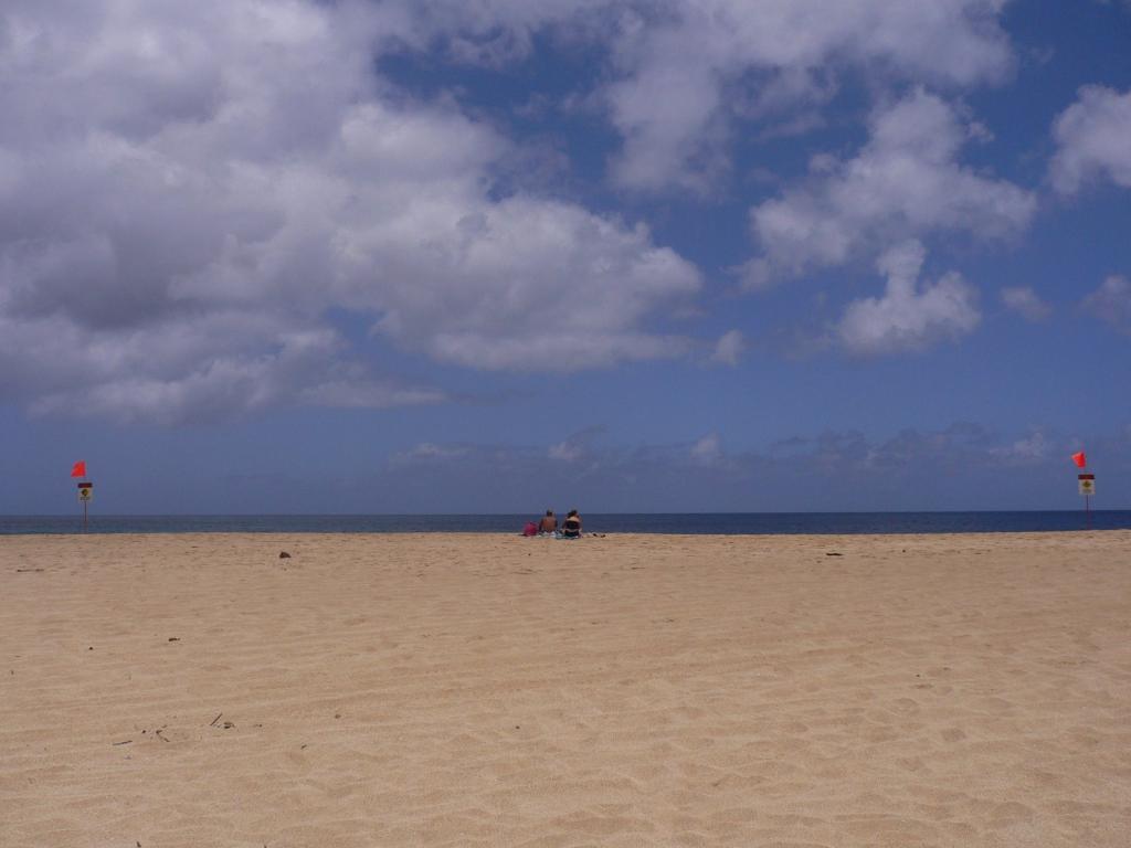 砂浜で海を眺めるカップル