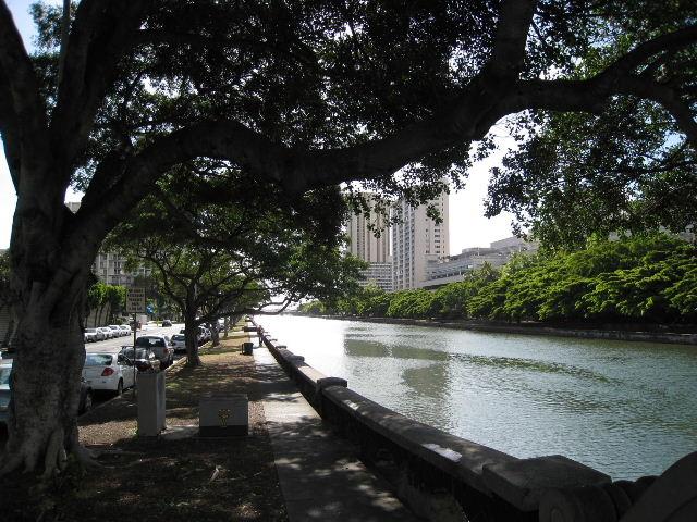 運河沿いの歩道-2